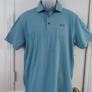 Under Armor Golf Heat Gear Blue Stripe Mens M